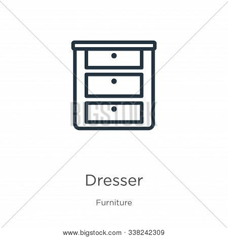 Dresser Icon. Thin Linear Dresser Outline Icon Isolated On White Background From Furniture Collectio