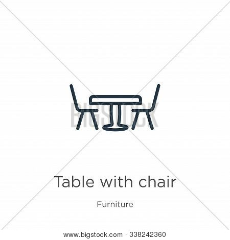 Table With Chair Icon. Thin Linear Table With Chair Outline Icon Isolated On White Background From F