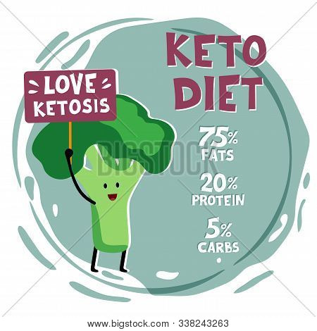 Ketogenic Diet, Conceptual Vector Illustration. Funny Illustration Of Broccoli With Quote Love Ketos