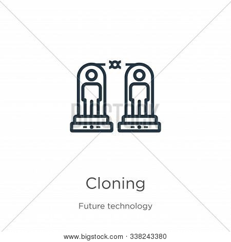 Cloning Icon. Thin Linear Cloning Outline Icon Isolated On White Background From Future Technology C
