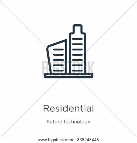 Residential Icon. Thin Linear Residential Outline Icon Isolated On White Background From Future Tech