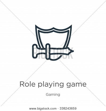 Role Playing Game Icon. Thin Linear Role Playing Game Outline Icon Isolated On White Background From