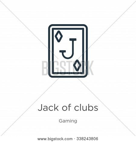 Jack Of Clubs Icon. Thin Linear Jack Of Clubs Outline Icon Isolated On White Background From Gaming