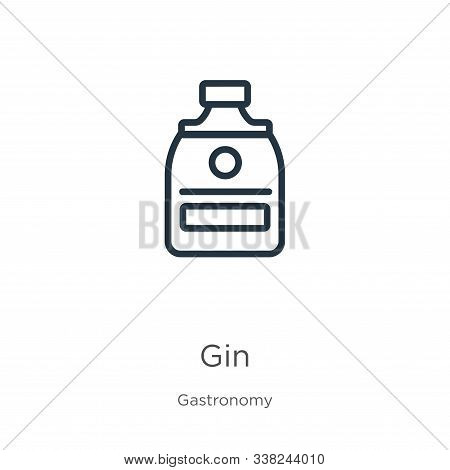 Gin Icon. Thin Linear Gin Outline Icon Isolated On White Background From Gastronomy Collection. Line