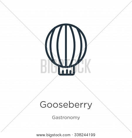 Gooseberry Icon. Thin Linear Gooseberry Outline Icon Isolated On White Background From Gastronomy Co