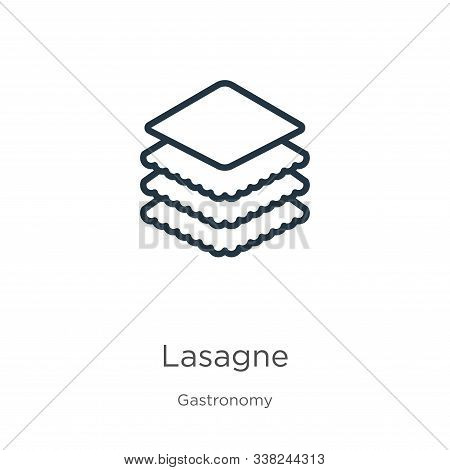 Lasagne Icon. Thin Linear Lasagne Outline Icon Isolated On White Background From Gastronomy Collecti