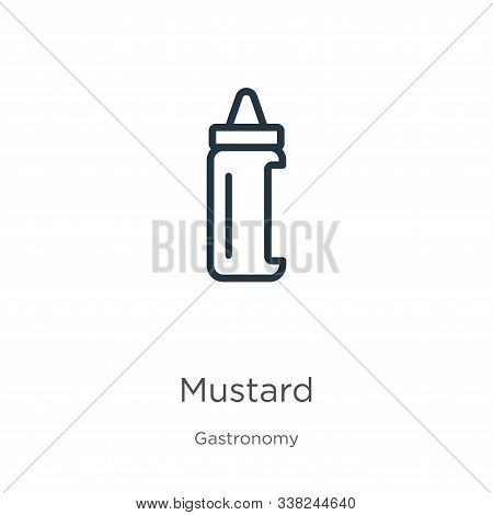 Mustard Icon. Thin Linear Mustard Outline Icon Isolated On White Background From Gastronomy Collecti
