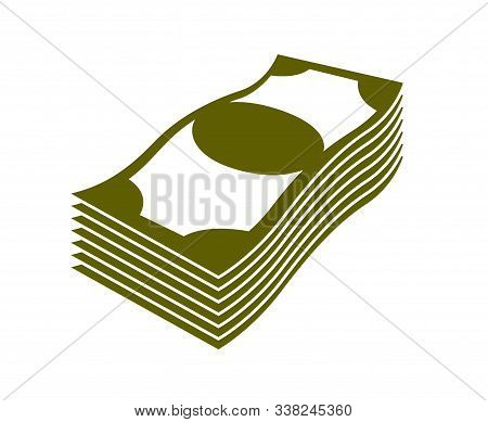 Cash Money Dollar Banknote Stack Vector Simplistic Illustration Icon Or Logo, Business And Finance T