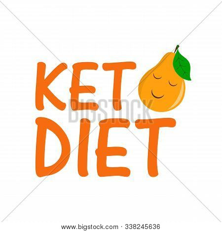 Keto Diet With Pear. Healthy Food - Fats, Proteins And Carbs. Low Carbs Ketogenic Diet Food. Vector