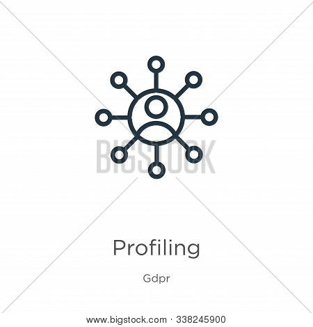 Profiling Icon. Thin Linear Profiling Outline Icon Isolated On White Background From Gdpr Collection