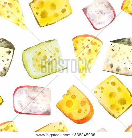 Seamless Watercolor Background With Different Noble Cheeses: Camembert, Gouda, Parmesan, Blue, Edamm