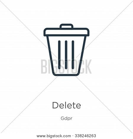 Delete Icon. Thin Linear Delete Outline Icon Isolated On White Background From Gdpr Collection. Line