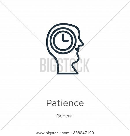 Patience Icon. Thin Linear Patience Outline Icon Isolated On White Background From General Collectio