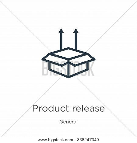Product Release Icon. Thin Linear Product Release Outline Icon Isolated On White Background From Gen
