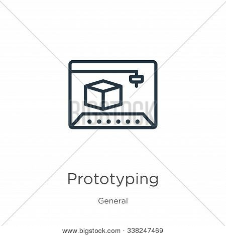 Prototyping Icon. Thin Linear Prototyping Outline Icon Isolated On White Background From General Col