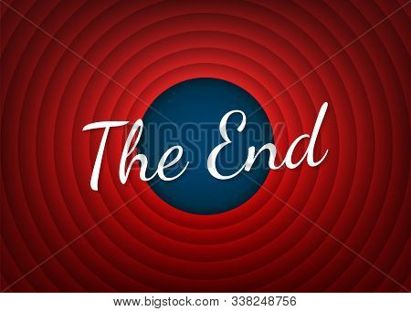 The End Handwrite Title On Red Round Background. Old Movie Circle Ending Screen. Vector Stock Illust