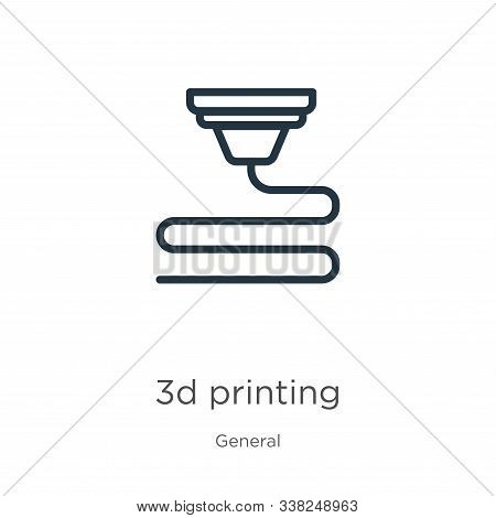 3d Printing Icon. Thin Linear 3d Printing Outline Icon Isolated On White Background From General Col