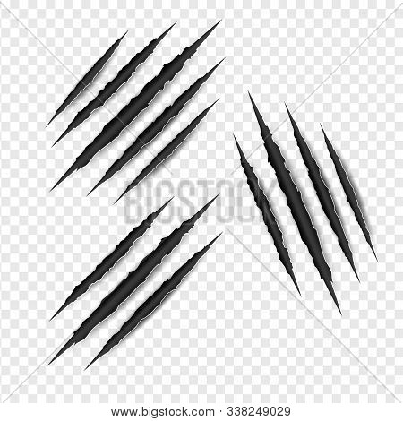 Set Illustration Of Claws Scratches Isolated On Transparent White Background. Creative Paper Craft,c