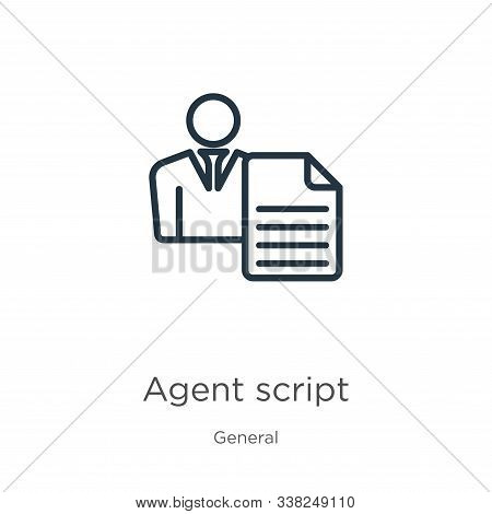 Agent Script Icon. Thin Linear Agent Script Outline Icon Isolated On White Background From General C