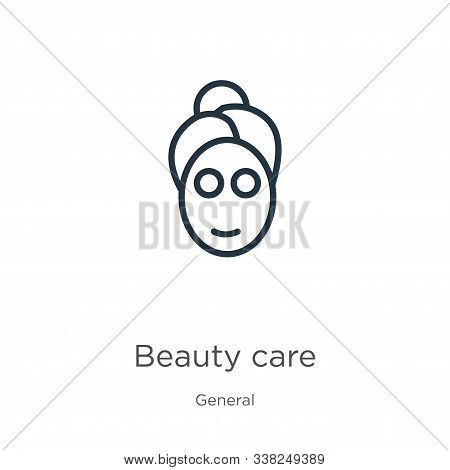 Beauty Care Icon. Thin Linear Beauty Care Outline Icon Isolated On White Background From General Col