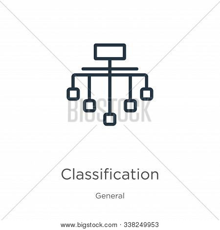 Classification Icon. Thin Linear Classification Outline Icon Isolated On White Background From Gener