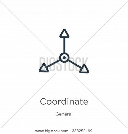 Coordinate Icon. Thin Linear Coordinate Outline Icon Isolated On White Background From General Colle