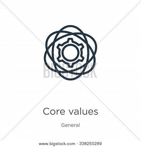 Core Values Icon. Thin Linear Core Values Outline Icon Isolated On White Background From General Col