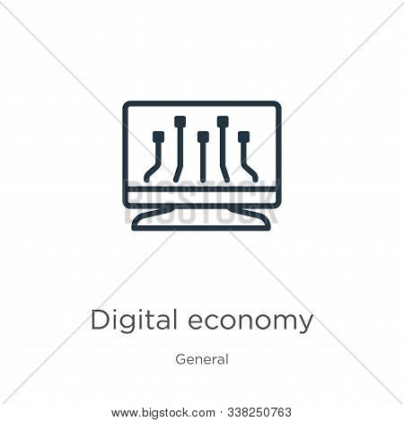 Digital Economy Icon. Thin Linear Digital Economy Outline Icon Isolated On White Background From Gen