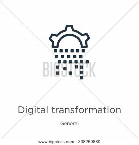 Digital Transformation Icon. Thin Linear Digital Transformation Outline Icon Isolated On White Backg