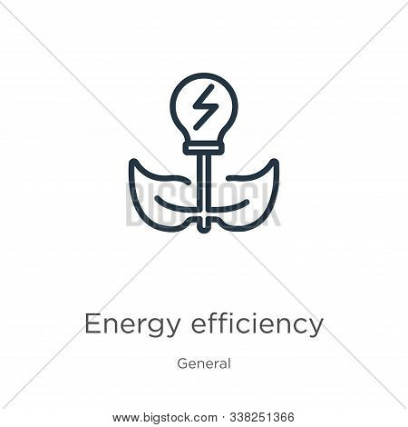Energy Efficiency Icon. Thin Linear Energy Efficiency Outline Icon Isolated On White Background From