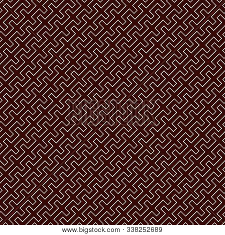 Outline Seamless Pattern With Battlement Curved Lines On Dark Background. Repeated Geometric Figures