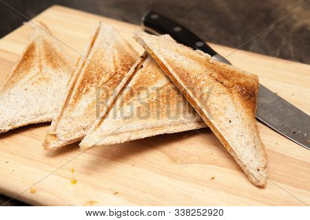 A Traditional Snack Of A Cheese And Bean Toasted Sandwich A Traditional Cheese And Bean Toasty On A