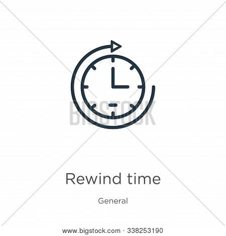 Rewind Time Icon. Thin Linear Rewind Time Outline Icon Isolated On White Background From General Col