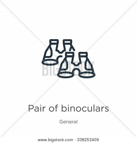 Pair Of Binoculars Icon. Thin Linear Pair Of Binoculars Outline Icon Isolated On White Background Fr