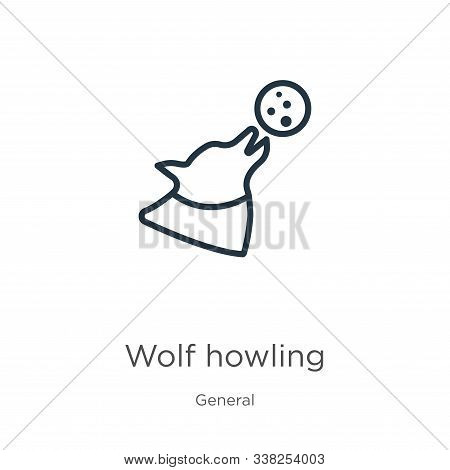 Wolf Howling Icon. Thin Linear Wolf Howling Outline Icon Isolated On White Background From General C