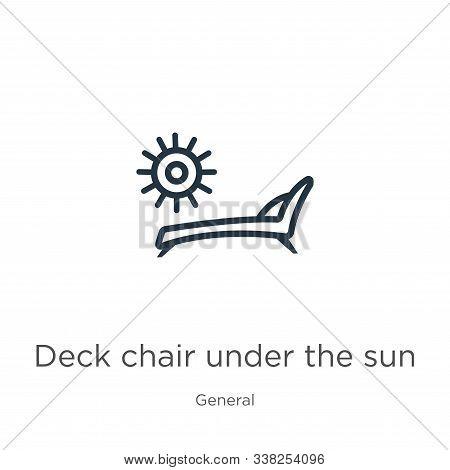 Deck Chair Under The Sun Icon. Thin Linear Deck Chair Under The Sun Outline Icon Isolated On White B
