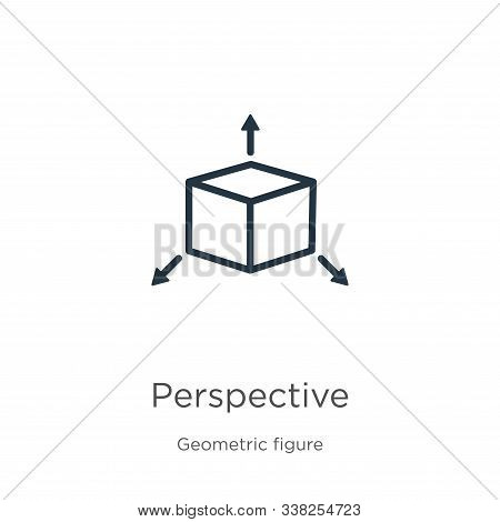 Perspective Icon. Thin Linear Perspective Outline Icon Isolated On White Background From Geometric F