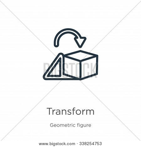 Transform Icon. Thin Linear Transform Outline Icon Isolated On White Background From Geometric Figur
