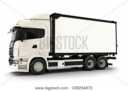 Generic White Industrial Transport Truck On An Isolated White Background. Room For Text Or Copy Spac
