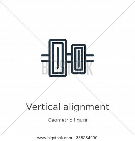 Vertical Alignment Icon. Thin Linear Vertical Alignment Outline Icon Isolated On White Background Fr