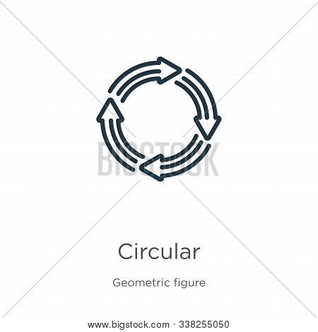 Circular Icon. Thin Linear Circular Outline Icon Isolated On White Background From Geometric Figure