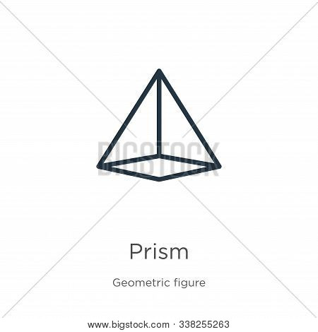 Prism Icon. Thin Linear Prism Outline Icon Isolated On White Background From Geometry Collection. Li