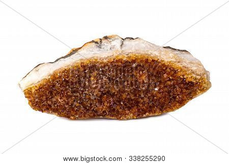 Citrine Mineral Close Up. Stone Crystals Isolated On White Background