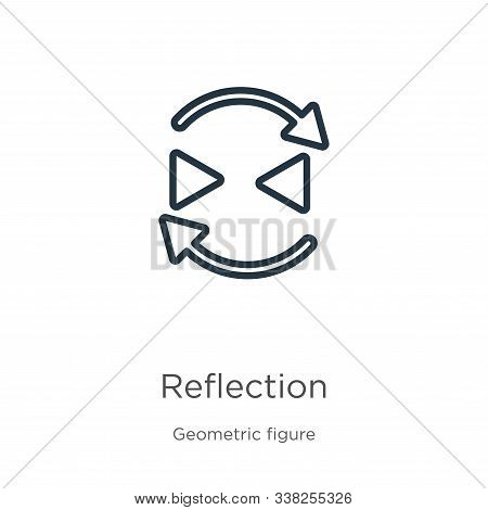 Reflection Icon. Thin Linear Reflection Outline Icon Isolated On White Background From Geometry Coll