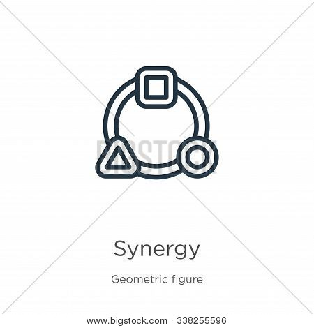 Synergy Icon. Thin Linear Synergy Outline Icon Isolated On White Background From Geometry Collection