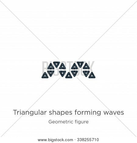 Triangular Shapes Forming Waves Icon. Thin Linear Triangular Shapes Forming Waves Outline Icon Isola