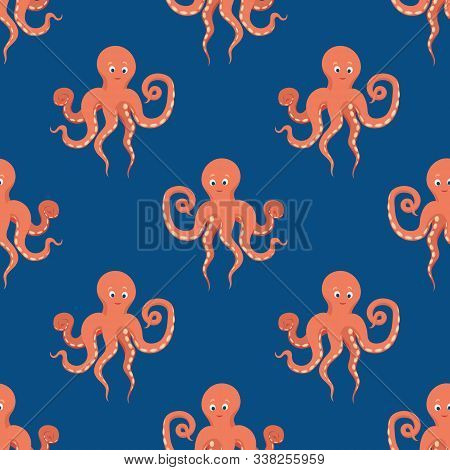 Flat Style Vector Seamless Pattern With Kind Orange Octopus On Classic Blue Background