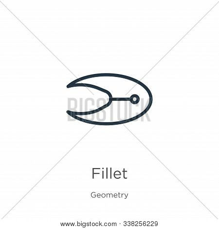 Fillet Icon. Thin Linear Fillet Outline Icon Isolated On White Background From Geometry Collection.