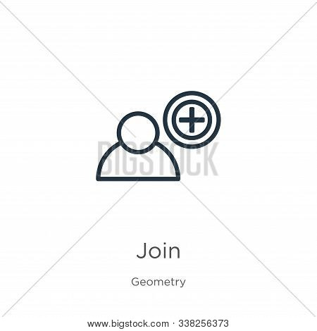 Join Icon. Thin Linear Join Outline Icon Isolated On White Background From Geometry Collection. Line