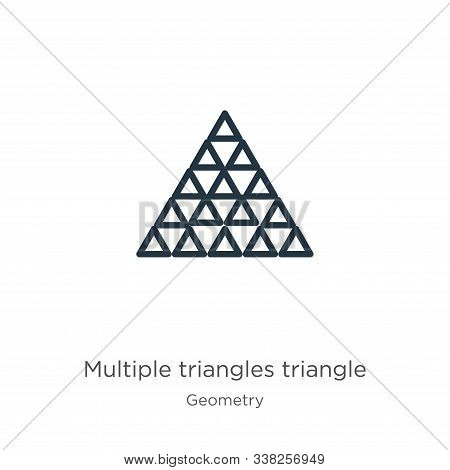 Multiple Triangles Triangle Icon. Thin Linear Multiple Triangles Triangle Outline Icon Isolated On W